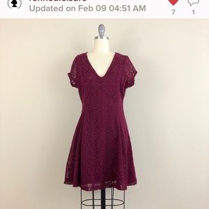 Express Maroon Lace V-Neck Fit And Flare Dress